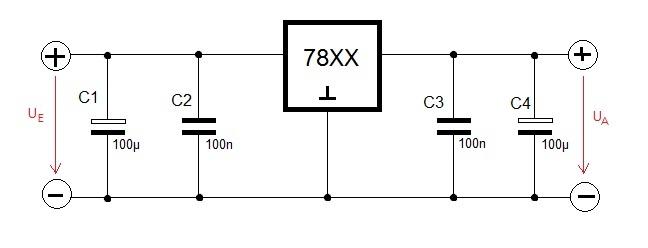 Schaltung für einen Spannungsregler der Reiher 78XX